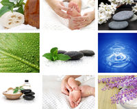 Spa collage. With stones water and foot massage Stock Image