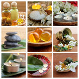 Spa collage. Spa treatment collage .beautiful spa background. Natural Cosmetics Royalty Free Stock Photos