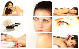 Spa collage. A collage of wellness - spa issues with a beautiful young woman and a flower Stock Photography