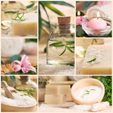 Spa collage. Spa series. Spa collage made of five images. Floral water, bath salt, candles and towel Royalty Free Stock Image