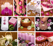 Spa Collage. With aromatherapy, pedicure and massage Royalty Free Stock Photo