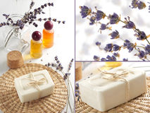 Spa collage. Scented soap and lavender oil in the bathroom in the Provence style.  Spa collage Royalty Free Stock Photo