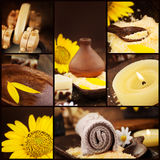 Spa collage. Series. Collage of wellness products. Soap, candles, flower and towels in natural dayspa setting Stock Image