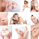 Spa collage. Portrait of a styled professional models.  Image-grid of spa photos Stock Image