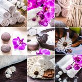 Spa collage. Accessories for spa . A stack of white towels and a. Container of water and a flower Stock Photos