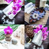 Spa collage. Accessories for spa . A stack of white towels and a. Container of water and a flower Stock Image