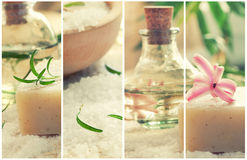 Spa collage with bath salt and flower Royalty Free Stock Images