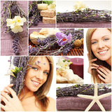 Spa collage - beautiful woman face, flowers Royalty Free Stock Image