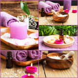 Spa Collage. Composition of 4 Spa Photos with Scent Candles. Soft Towels and Aromatherapy on Wellness Background Stock Photos