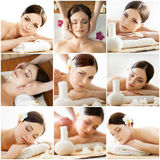 Spa collage: different types of massage. Royalty Free Stock Images