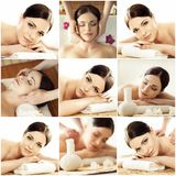 Spa collage: different types of massage. Massaging, spa, wellness, health care and healing therapy Royalty Free Stock Photo