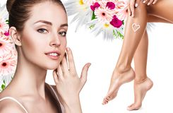 Spa collage of female face and legs. Stock Photo