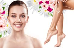 Spa collage of female face and legs. Stock Photos