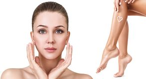 Spa collage of female face and legs. Royalty Free Stock Photography