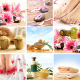 A spa collage of female feet, flowers and stones Royalty Free Stock Image