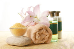 A spa collage of oil, flowers and healthy salt Royalty Free Stock Image