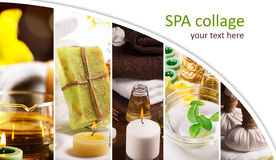 SPA collage. From pictures of candles and massage equipment Stock Photos