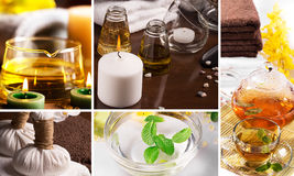 SPA collage. From pictures of candles and massage equipment Royalty Free Stock Images