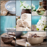 Spa collage. Series.  made of five images. Floral water, cherry flowers, bath salt, candles and towel Stock Image