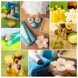 Spa collage series. Collage of wellness products. Soap, candles, and towels in fresh dayspa setting Royalty Free Stock Photo