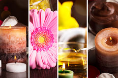 SPA collage. Still life with herbal oil, candles and flowers Royalty Free Stock Images