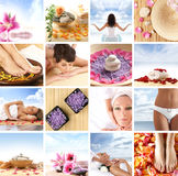 A spa collage with young women, stones and petals. A beautiful spa collage with young and attractive Caucasian women, lava stones and pink petals. A total of Stock Image