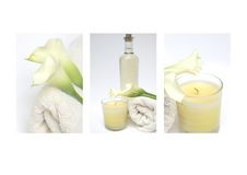 Spa Collection. Collection of three spa images of canle, lillies and massage oil and towels for salon or massage to show relaxing and soothing treatment Royalty Free Stock Image