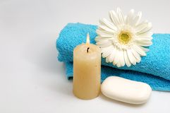 Spa collection 2. Spa collection (towel, candle, flower, soap Royalty Free Stock Images