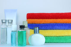 Spa Collection. A spa setting of soft colorful towels and lotions Stock Photos
