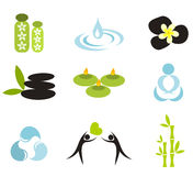 Spa collection. Vector spa icons. Frangipani flowers, water symbols and candles isolated Stock Image