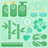 Spa collection. A beautiful spa icons set Stock Images