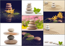 Spa collection, collage of balancing zen pebble stones Royalty Free Stock Images