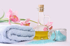 Spa collection and flowers. On blue background Stock Photography