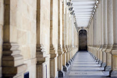 Spa Colonnade. A spa colonnade with vaulting shafts of marble in Bohemian spa Royalty Free Stock Photography