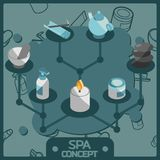 Spa color isometric concept icons. Vector illustration, EPS 10 Royalty Free Stock Photography