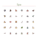 Spa Colored Line Icons. Set. Vector illustration Royalty Free Stock Image