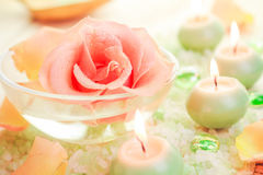 Spa components rose flower bath salt aromatic candles Stock Photography
