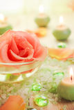 Spa components rose flower bath salt aromatic candles Stock Images