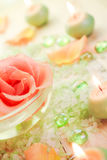 Spa components rose flower bath salt aromatic candles Royalty Free Stock Photography