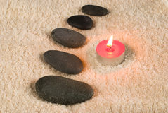 Spa composition. Candles and stones Royalty Free Stock Photography