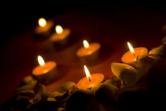 Spa composition. Candles and stones Stock Image