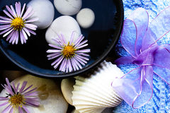 Spa composition. Withspa bowl and flowers Stock Photos