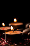 Spa composition with aroma candles on wooden . Treatment, aromatherapy Stock Images