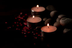 Spa composition with aroma candles on wooden . Treatment, aromatherapy Royalty Free Stock Photo