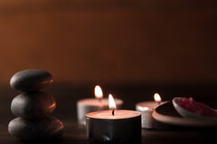 Spa composition with aroma candles on wooden . Treatment, aromatherapy Stock Photos