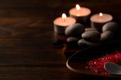 Spa composition with aroma candles on wooden . Treatment, aromatherapy Royalty Free Stock Images