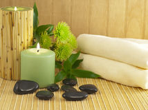 Spa composition with bamboo and stones Stock Photos