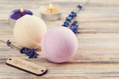 SPA composition with bath bombs Royalty Free Stock Photo