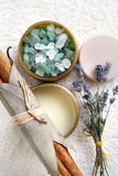 Spa composition with bath salt, moisturizer, round Royalty Free Stock Images