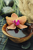 Spa composition with beautiful orchid Royalty Free Stock Photo